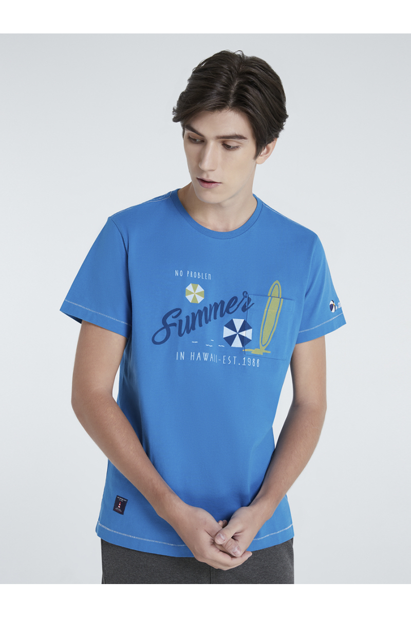 SUMMER TIME POCKET PRINT T-SHIRT - PACIFIC BLUE
