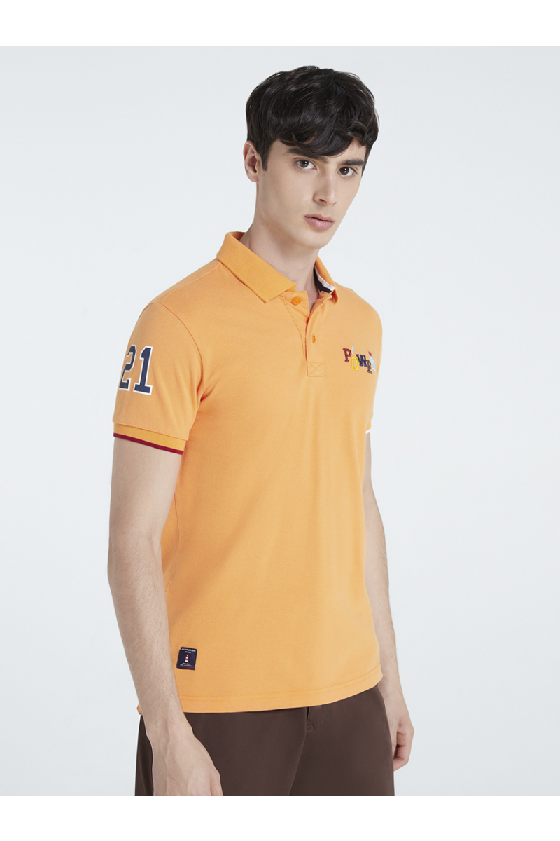 POWER EMBOSSED EMBROIDERY POLOS - PEACH ORANGE