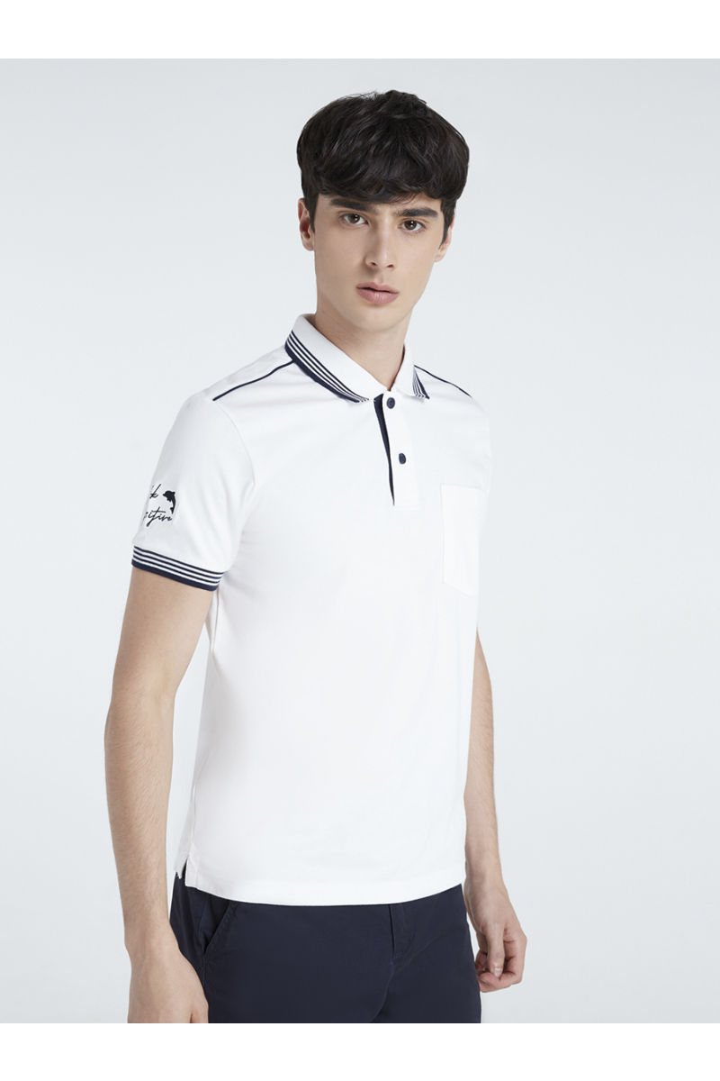 THINK POSITIVE EMBROIDERY POLOS - WHITE