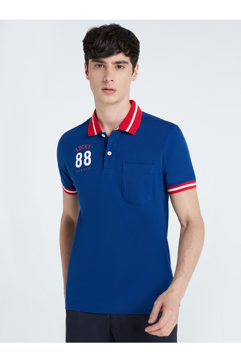 LUCKY NUMBER 88 PRINT POLOS - WHALE BLUE