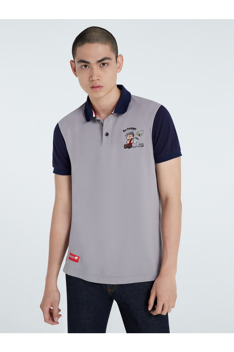 PEANUTS COLLECTIONS EMBROIDERY POLOS - LIGHT GRAY