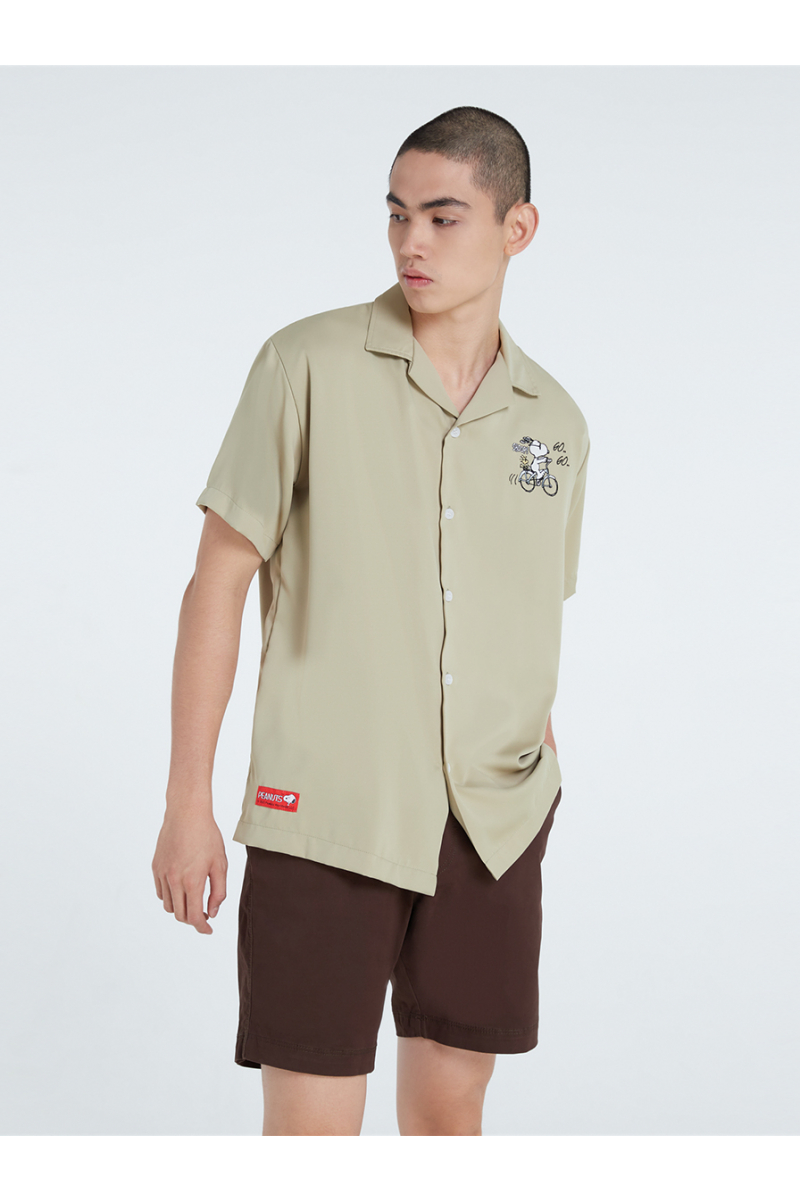 PEANUTS COLLECTIONS EMBROIDERY SHIRT - PASTEL GREEN