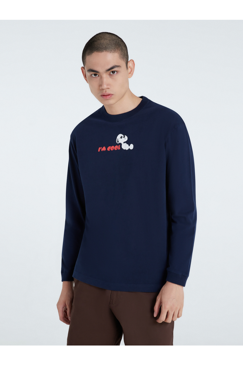 PEANUTS COLLECTIONS VELVET PRINTS SWEATER - NAVY