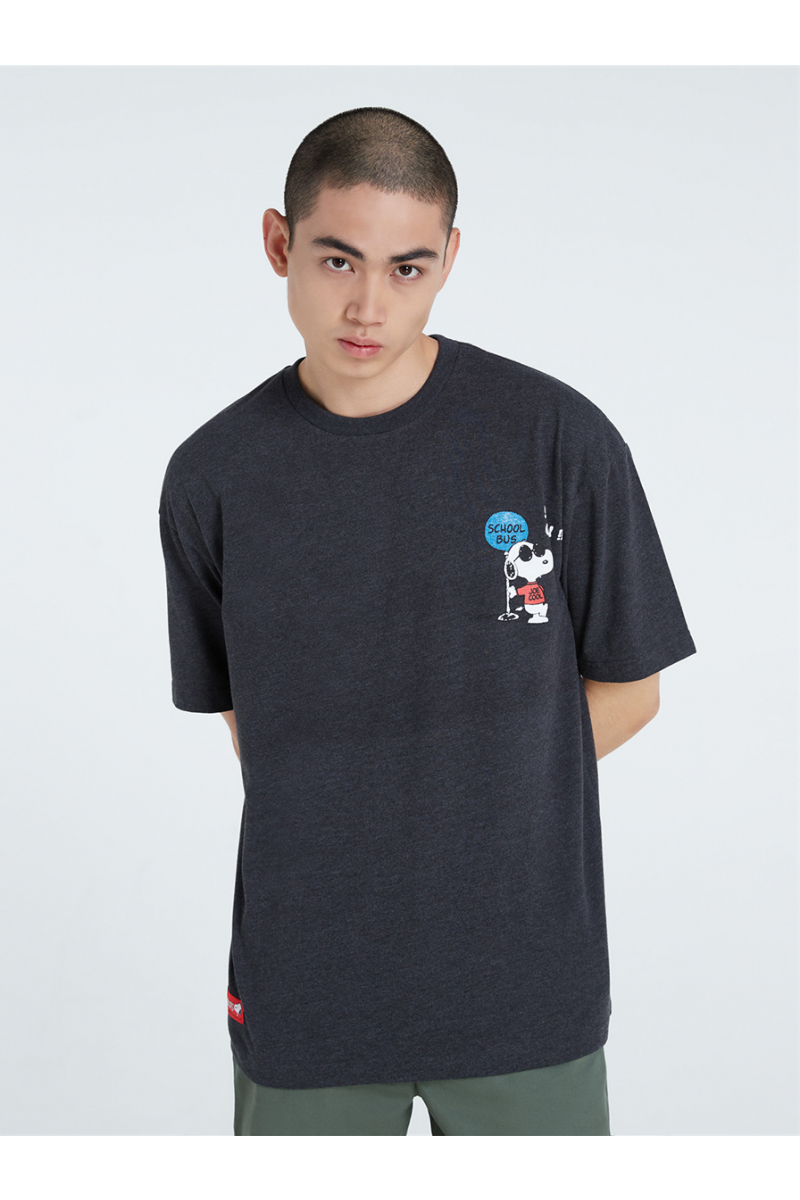 PEANUTS COLLECTIONS VELVET PRINTS T-SHIRT - BLACK