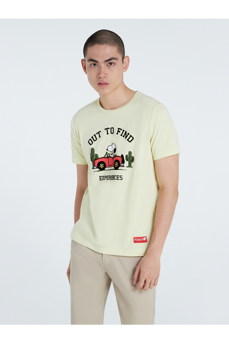 PEANUTS COLLECTIONS VELVET PRINTS T-SHIRT - LIGHT YELLOW