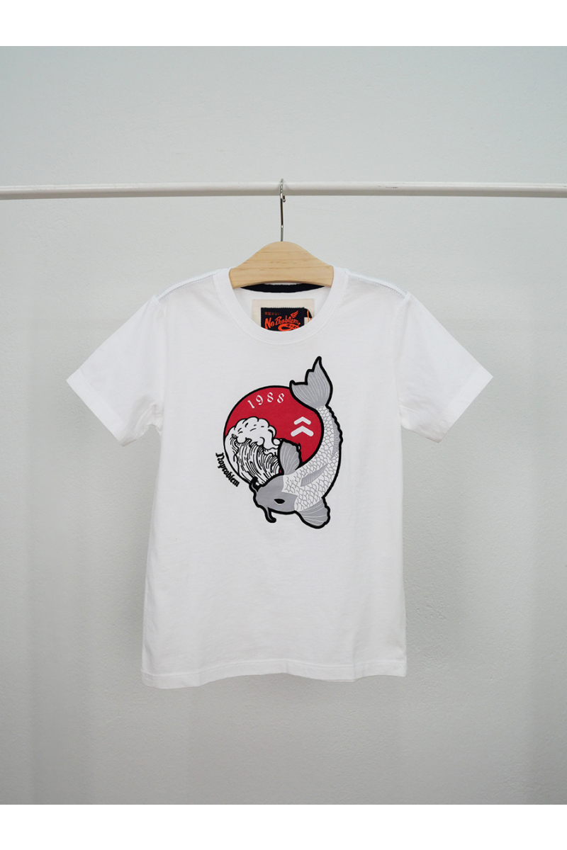 T-shirt / Japanese koi pattern - White