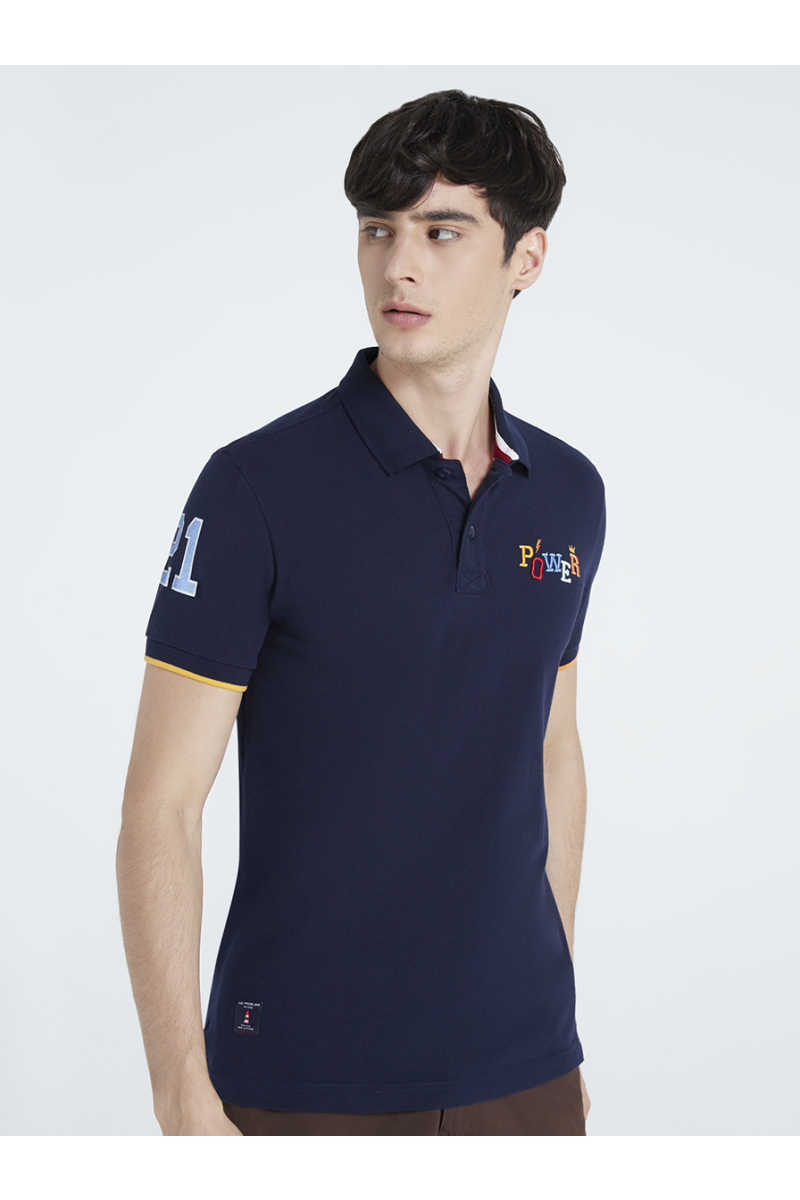 POWER EMBOSSED EMBROIDERY POLOS - NIGHT SEA BLUE