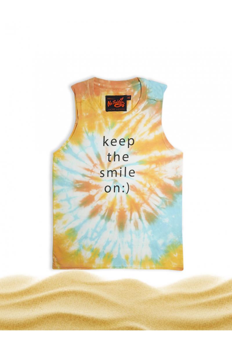 SLEEVELESS SHIRT - TIE DYE  / KEEP THE SMILE ON - ORANGE
