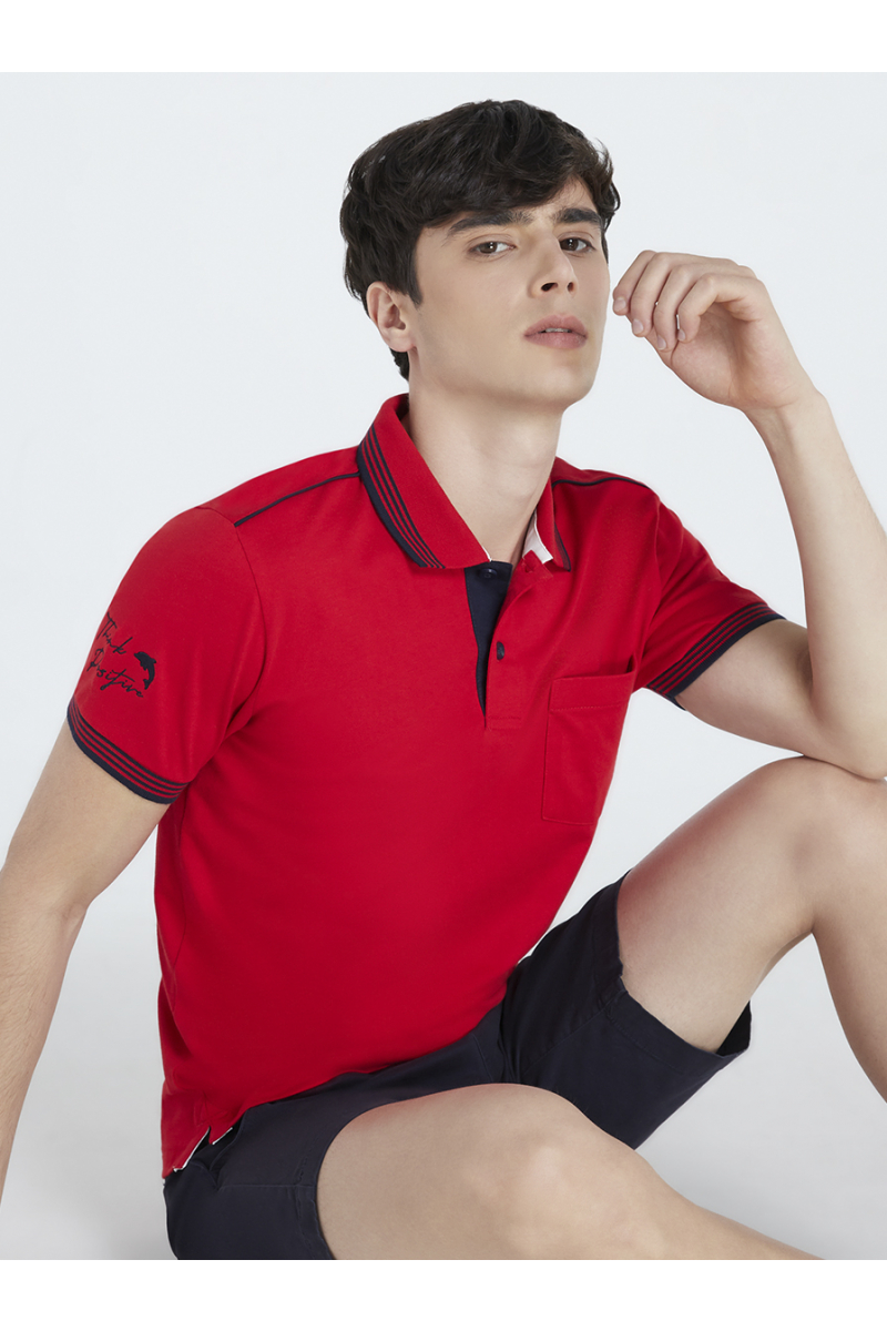 THINK POSITIVE EMBROIDERY POLOS - HIBISCUS RED