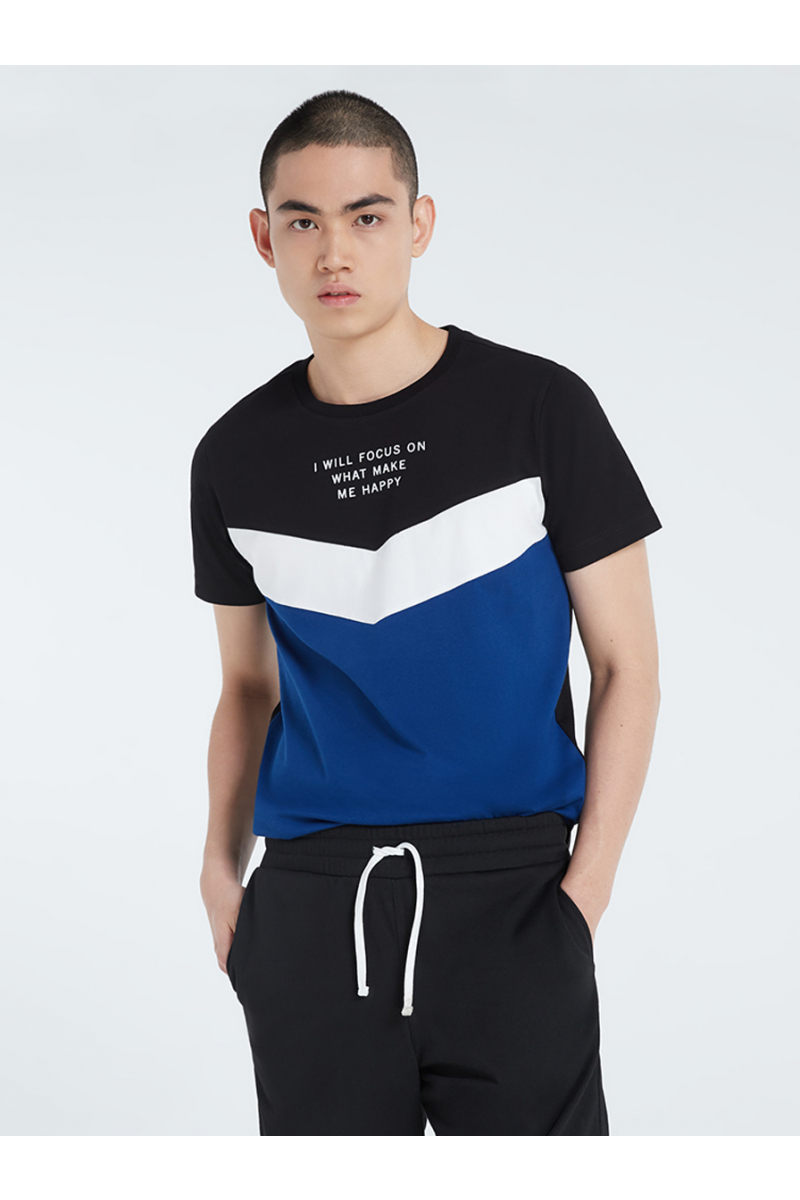 COLOR BLOCK STYLE WITH VELVET PRINT T-SHIRT - BLACK