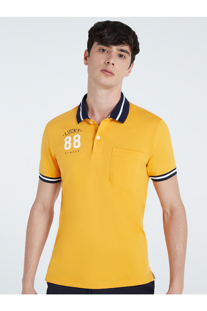 LUCKY NUMBER 88 PRINT POLOS - PINEAPPLE YELLOW