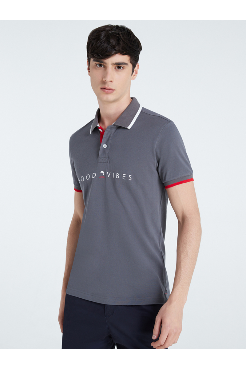GOOD VIBS PRINT POLOS - Space Grey
