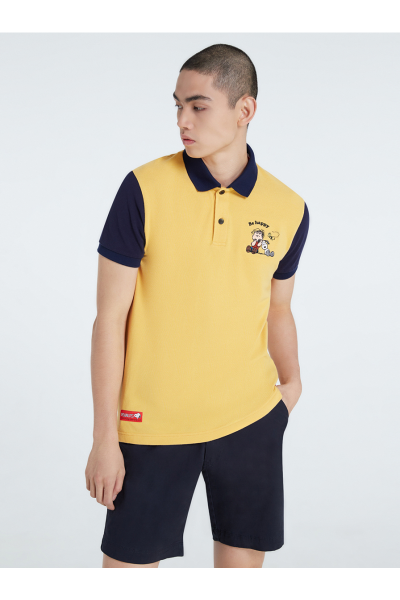 PEANUTS COLLECTIONS EMBROIDERY POLOS - PASTEL YELLOW