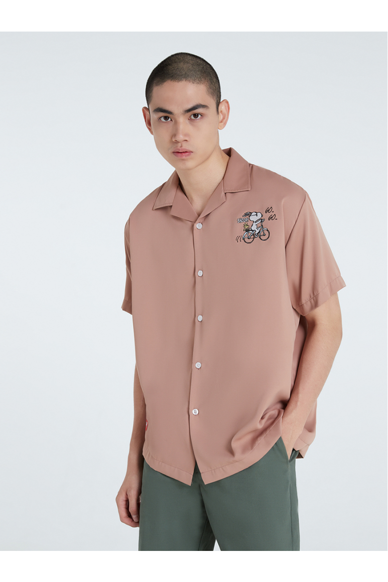 PEANUTS COLLECTIONS EMBROIDERY SHIRT - BEIGE