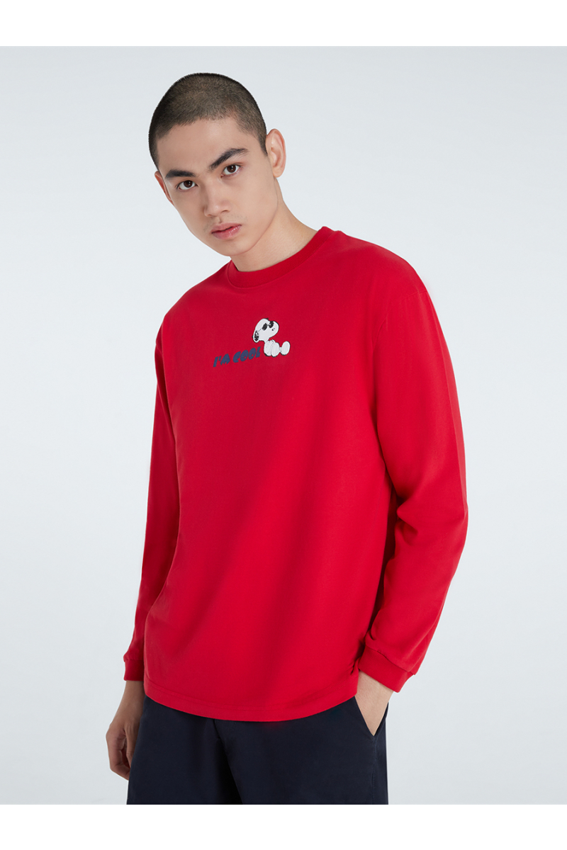 PEANUTS COLLECTIONS VELVET PRINTS SWEATER - red