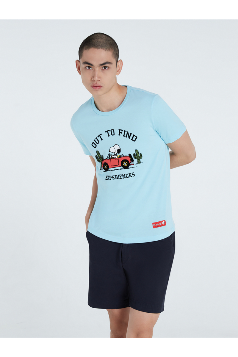 PEANUTS COLLECTIONS VELVET PRINTS T-SHIRT - LIGHT BLUE