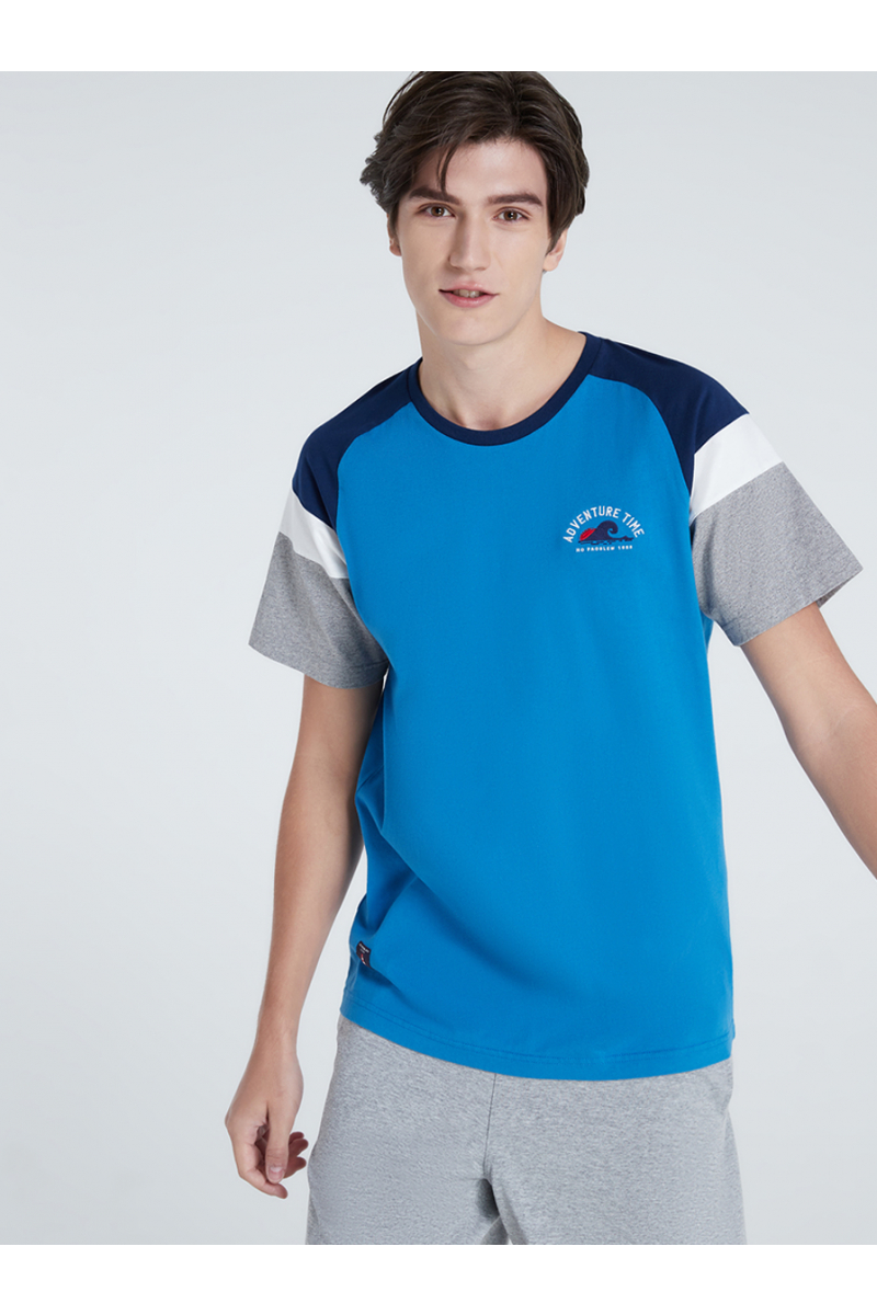 SUMMER STYLE EMBROIDERY T-SHIRT - PACIFIC BLUE