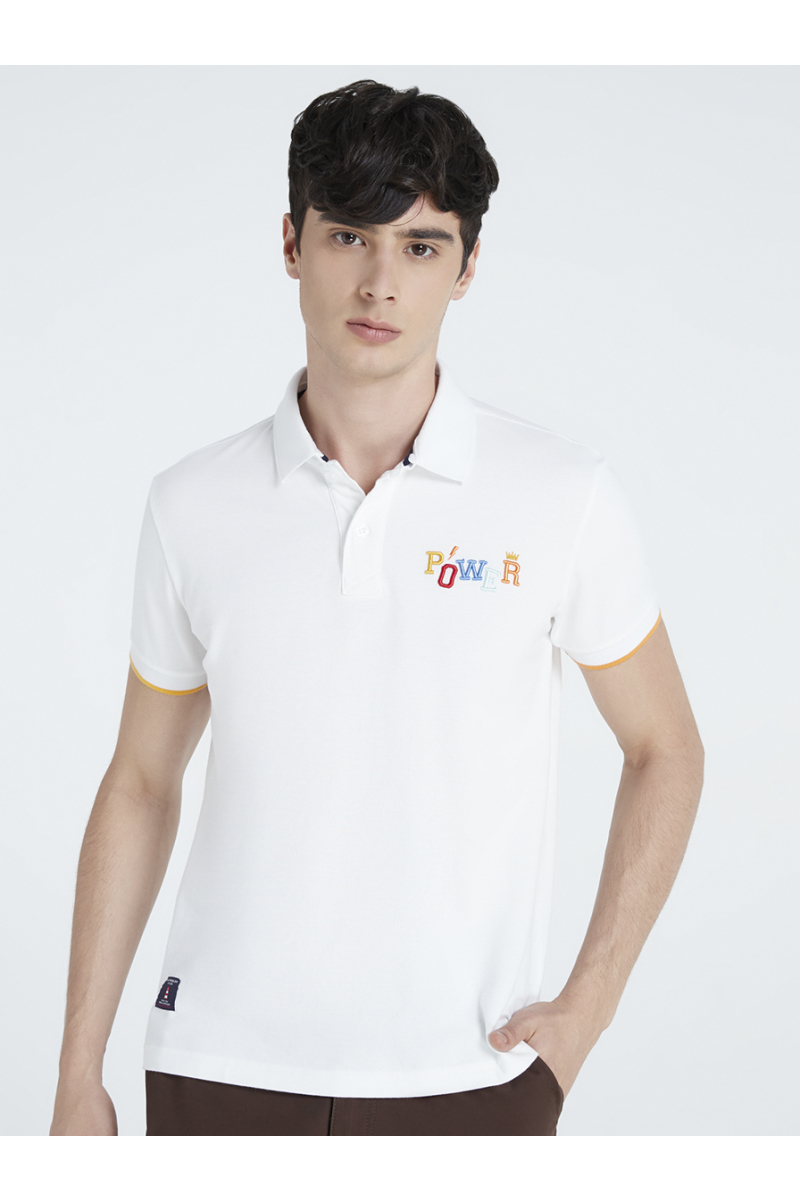 POWER EMBOSSED EMBROIDERY POLOS - WHITE