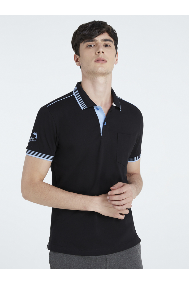 THINK POSITIVE EMBROIDERY POLOS - BLACK