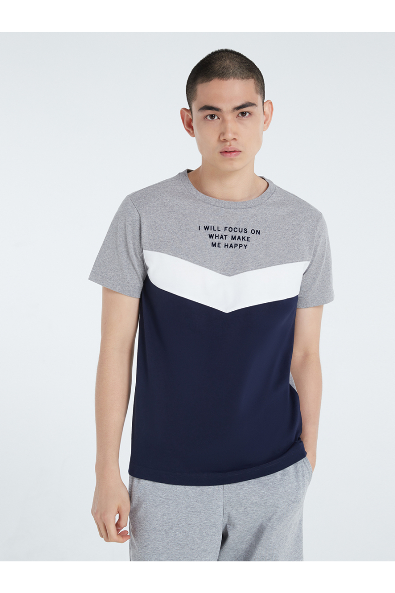 COLOR BLOCK STYLE WITH VELVET PRINT T-SHIRT - TOP DYED