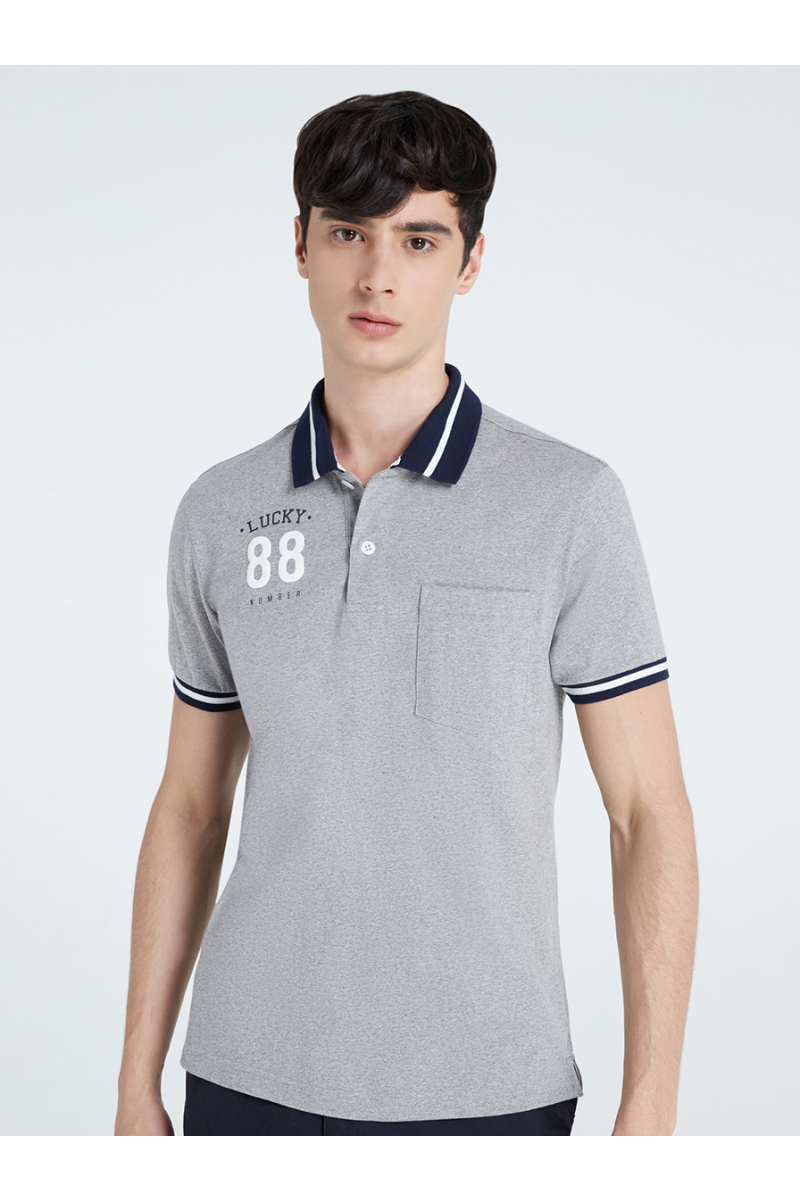 LUCKY NUMBER 88 PRINT POLOS - TOP DYED
