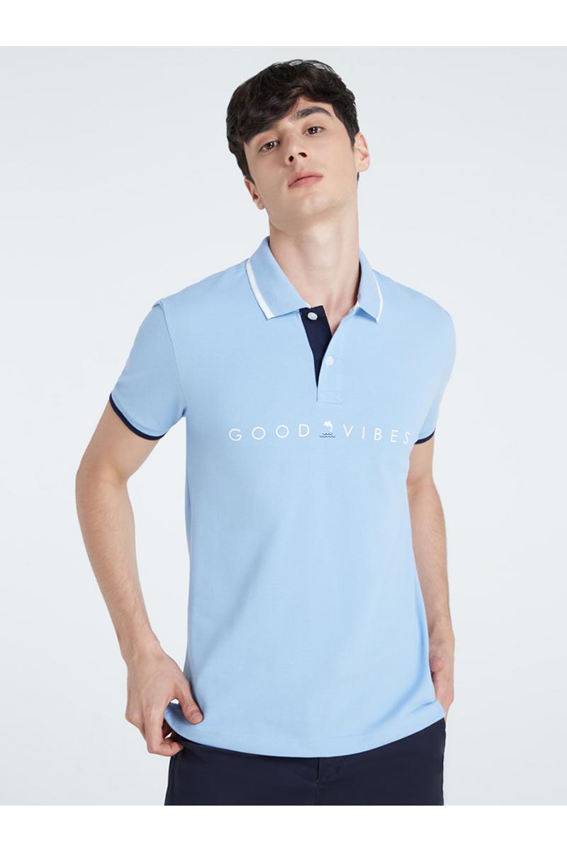 GOOD VIBS PRINT POLOS - Hydrangea Blue