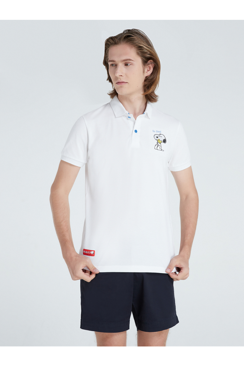 PEANUTS COLLECTIONS EMBROIDERY POLOS-WHITE