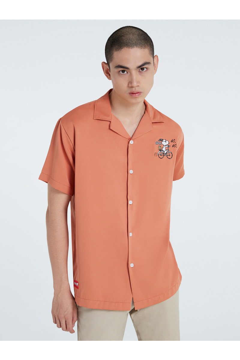 PEANUTS COLLECTIONS EMBROIDERY SHIRT - PEACH