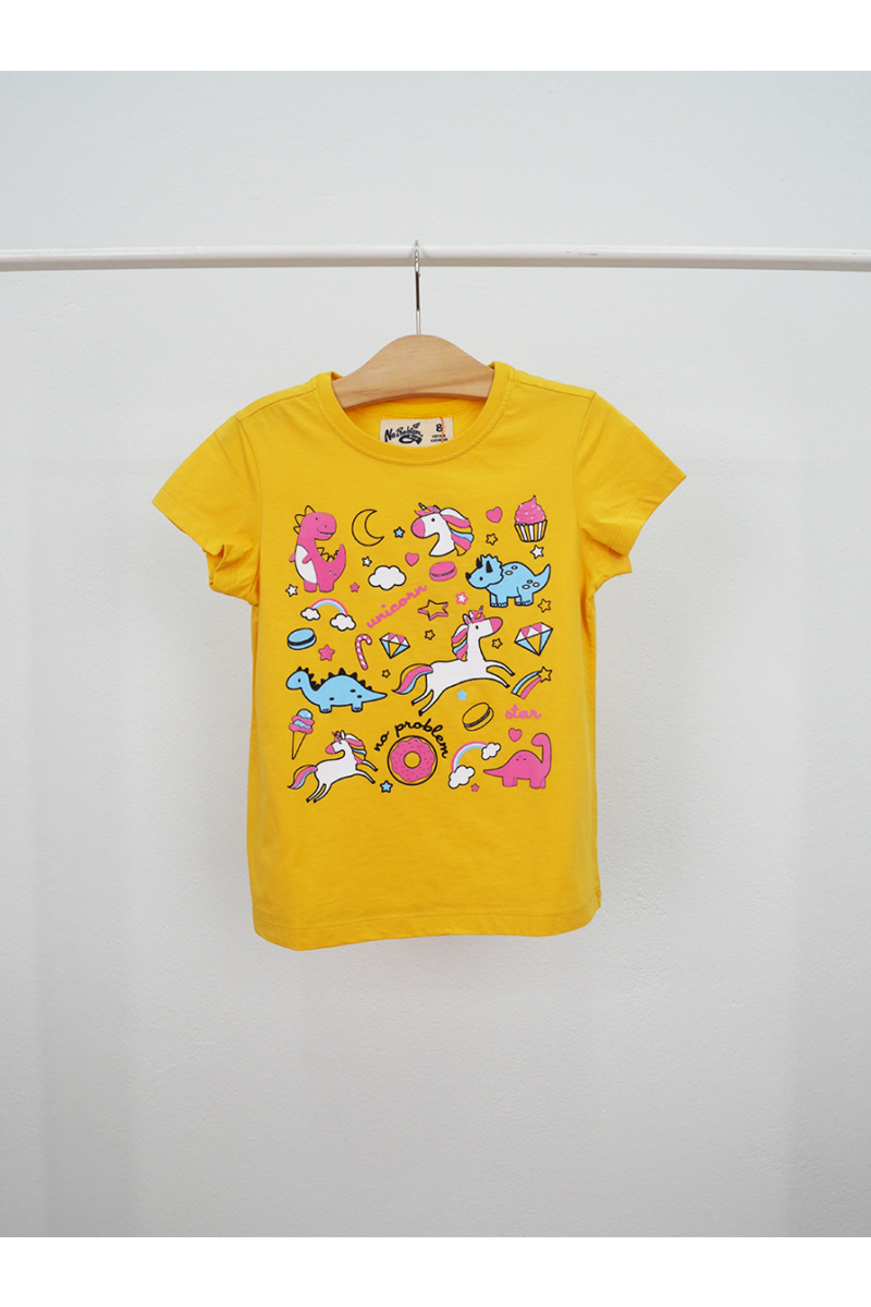 Unicorn and friends printed t-shirt - Yellow