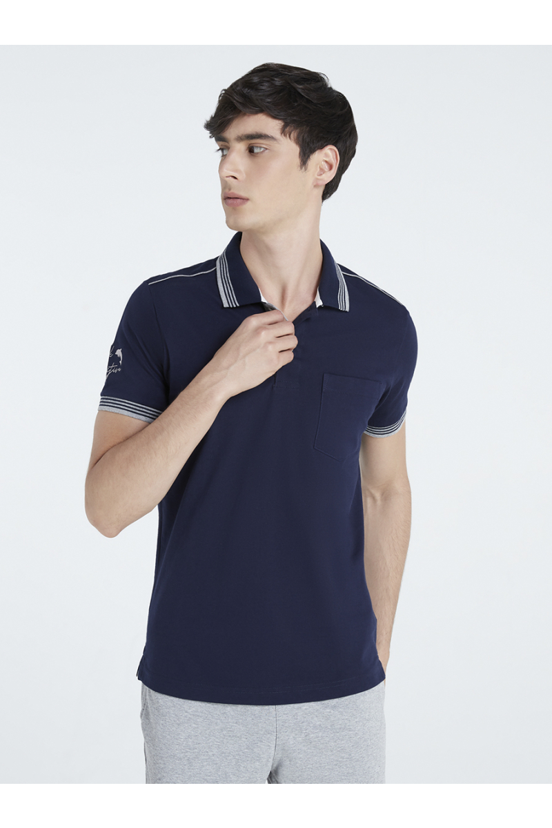 THINK POSITIVE EMBROIDERY POLOS - NIGHTSEA BLUE