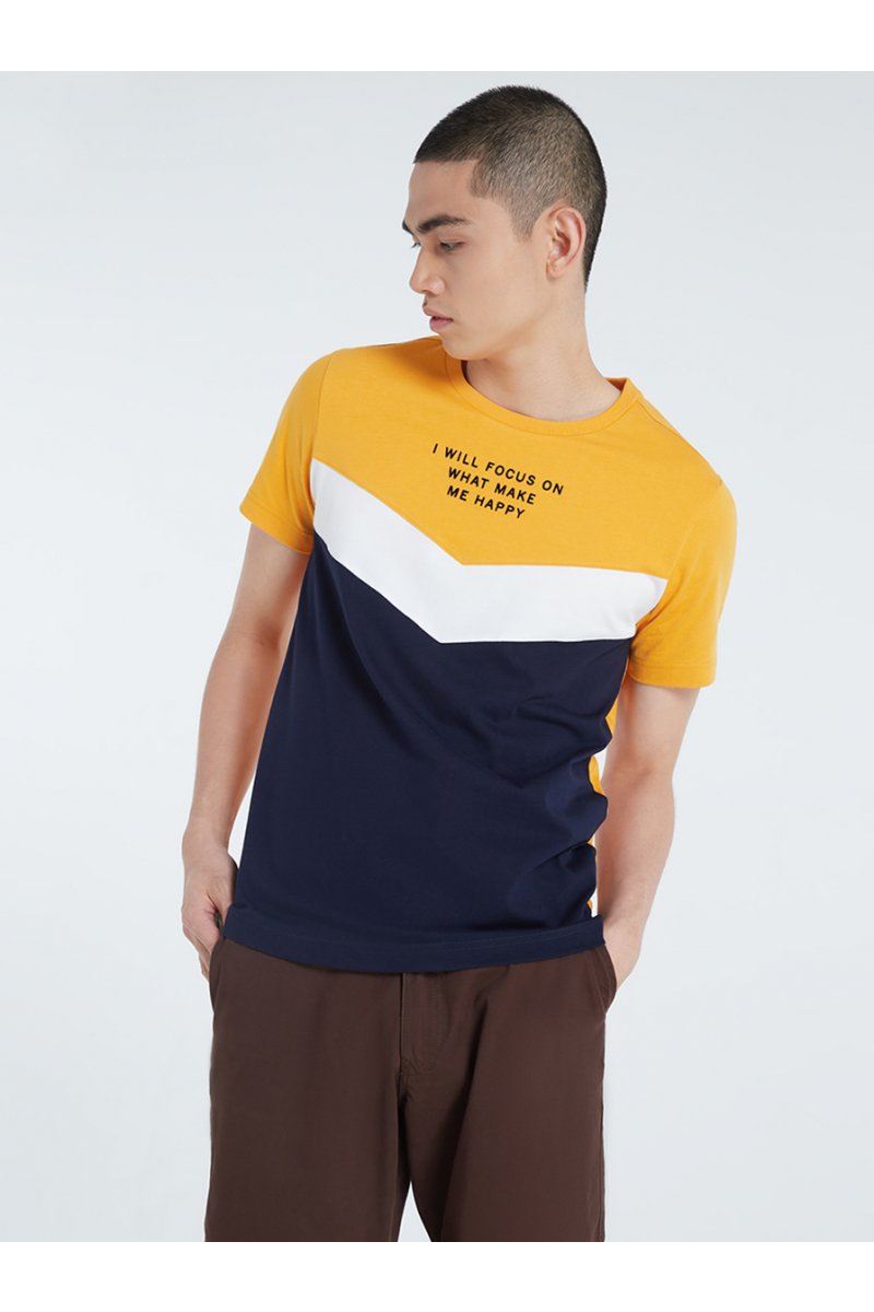COLOR BLOCK STYLE VELVET PRINT T-SHIRT - PINEAPPLE YELLOW