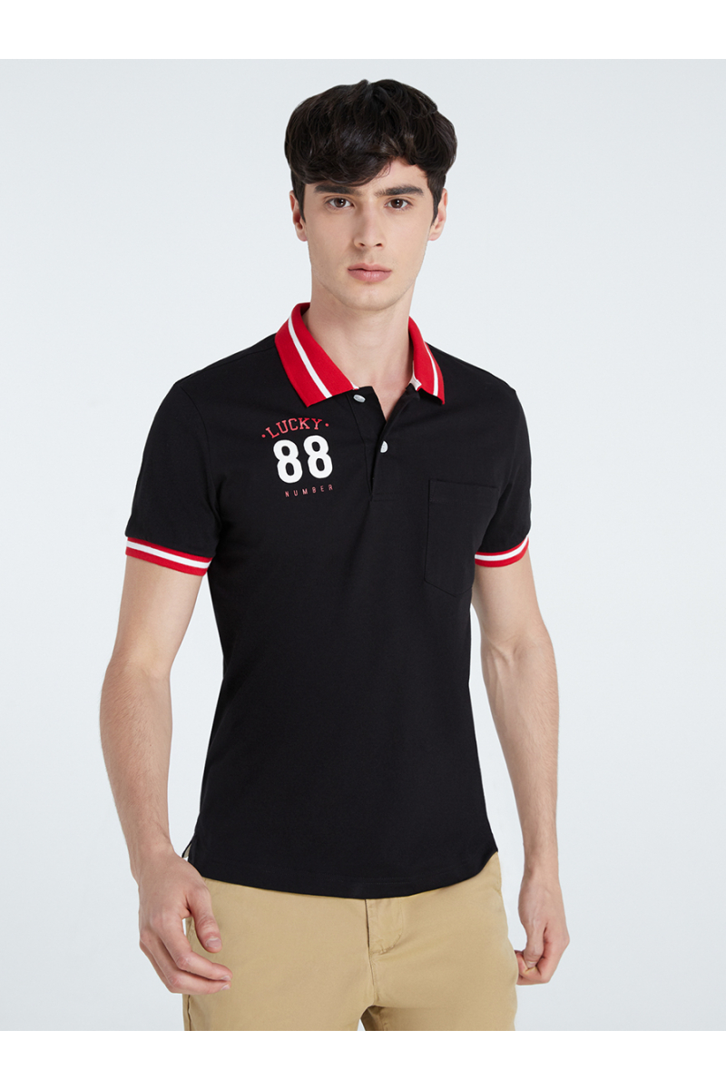 LUCKY NUMBER 88 PRINT POLOS - BLACK