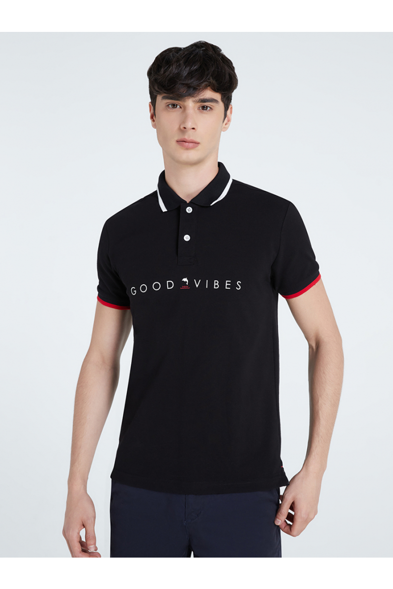 GOOD VIBS PRINT POLOS - Black