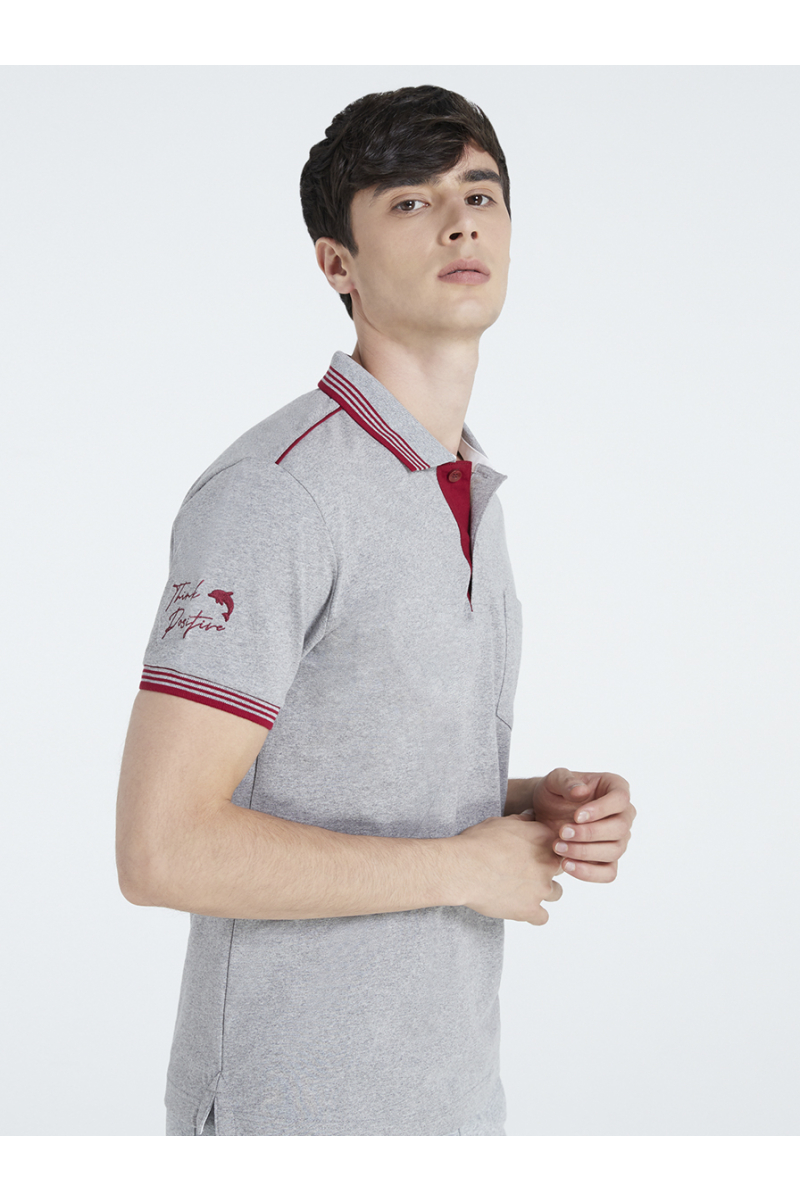 THINK POSITIVE EMBROIDERY POLOS - TOP DYED