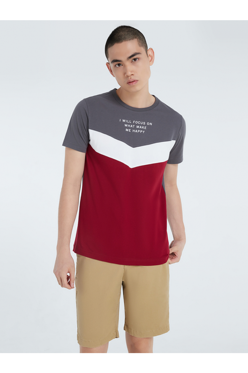 COLOR BLOCK STYLE WITH VELVET PRINT T-SHIRT - SPACE GRAY
