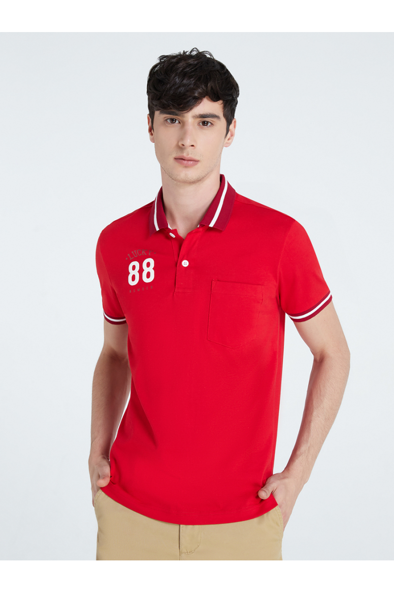 LUCKY NUMBER 88 PRINT POLOS - HIBISCUS RED