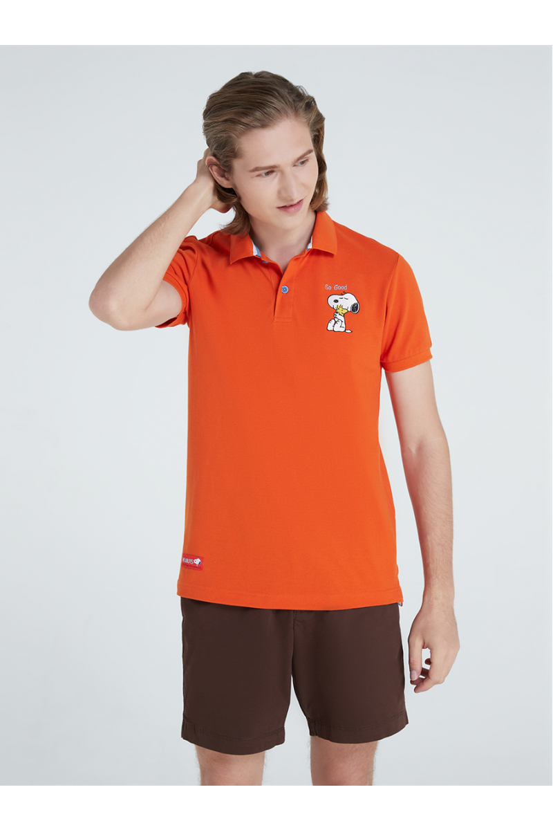 PEANUTS COLLECTIONS EMBROIDERY POLOS-SUNSET ORANGE