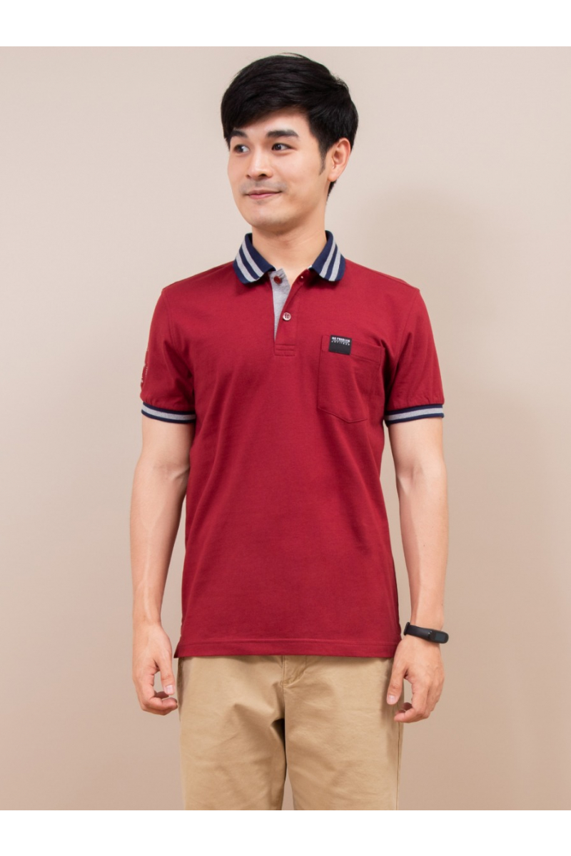BASIC POCKET POLOS - Red Wine